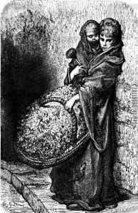 Flower Seller Girl with Baby
