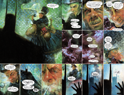 "Art by Dave McKean, words by Grant Morrison. This page is prefaced by the Hatter singing, from off-screen, ""Twinkle, twinkle, little bat..."" Copyright DC Comics, 1989, 2004"