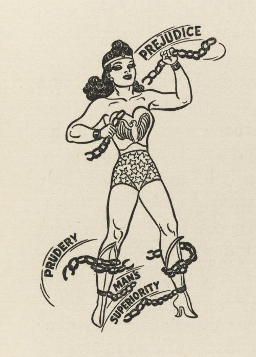 "Wonder Woman breaking triumphantly free of the chains of ""Prejudice,"" ""Prudery,"" and ""Man's Superiority"" (1943-44)"