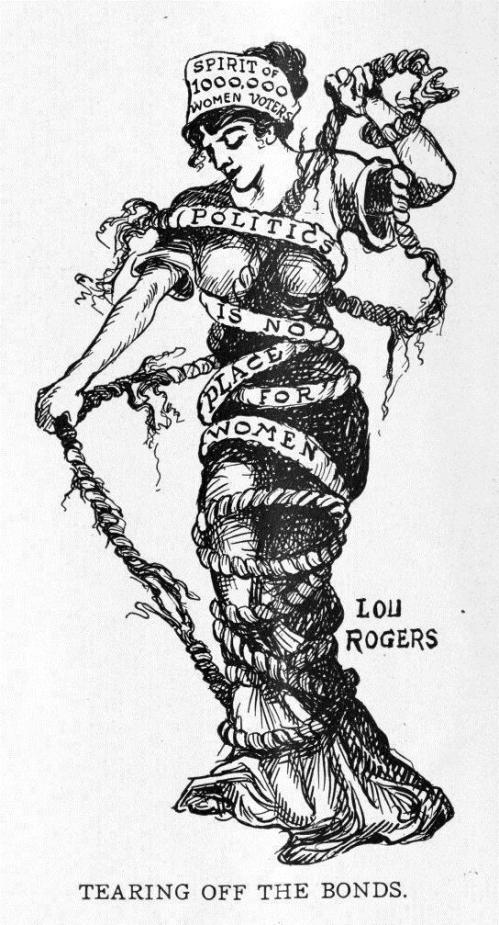 "Lou Rogers' 1912 cartoon: the ""Spirit of 1,000,000 Women Voters"" is chained by patriarchal rhetoric: ""Politics is no place for women!"""